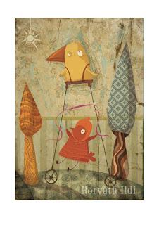 madár alatt kismadár hintáz, hugi, fák közt a természetben, little bird sister is swinging in nature between trees