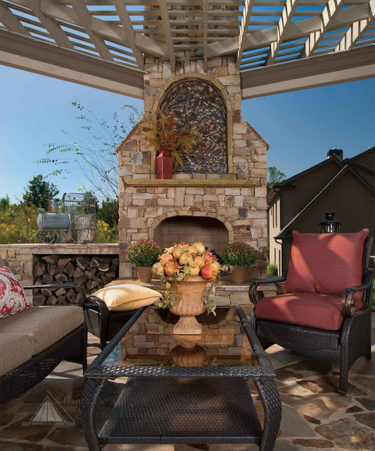 Pergola and fireplace design.