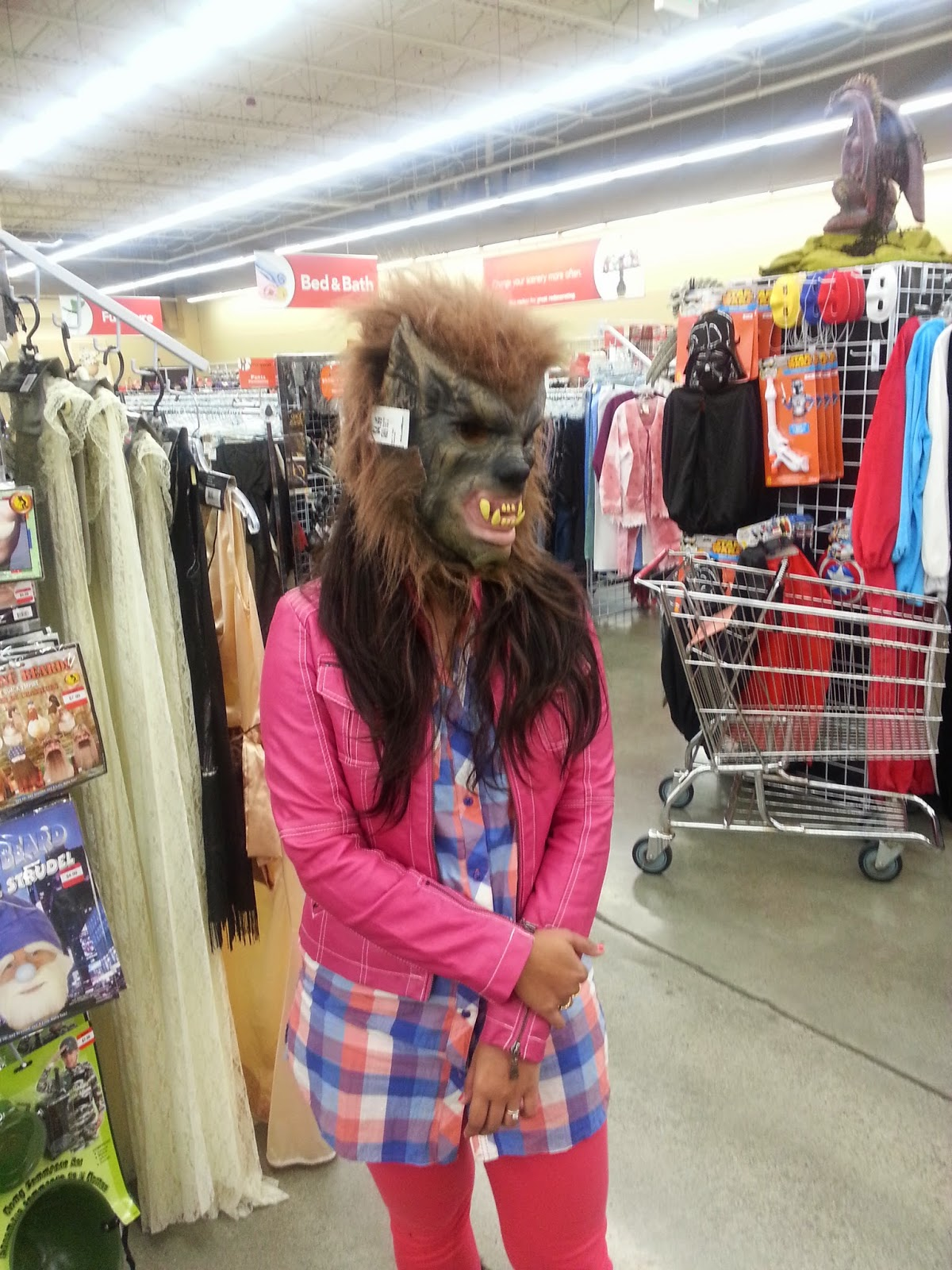 Seattle Halloween party, Halloween mask ideas, Seattle night life, Halloween shopping, Ananya's shopping pics , a guy wearing a mask, indian girl wearing a scary mask