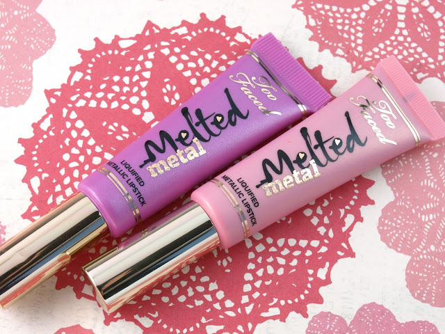 """Too Faced Melted Metal Liquified Metallic Lipstick in """"Melted Metallic Peony"""" & """"Melted Metallic Violet"""": Review and Swatches"""