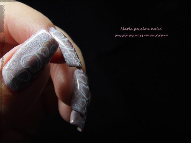 Nail art coeurs stampés7