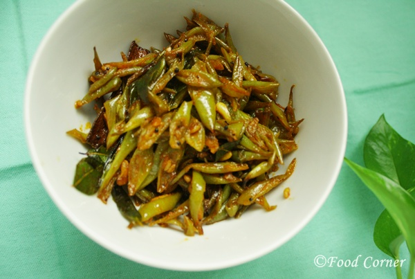 Sri Lankan recipes-Green Beans Fry-Bonchi thel dala