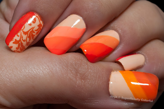 Orange polish nail art
