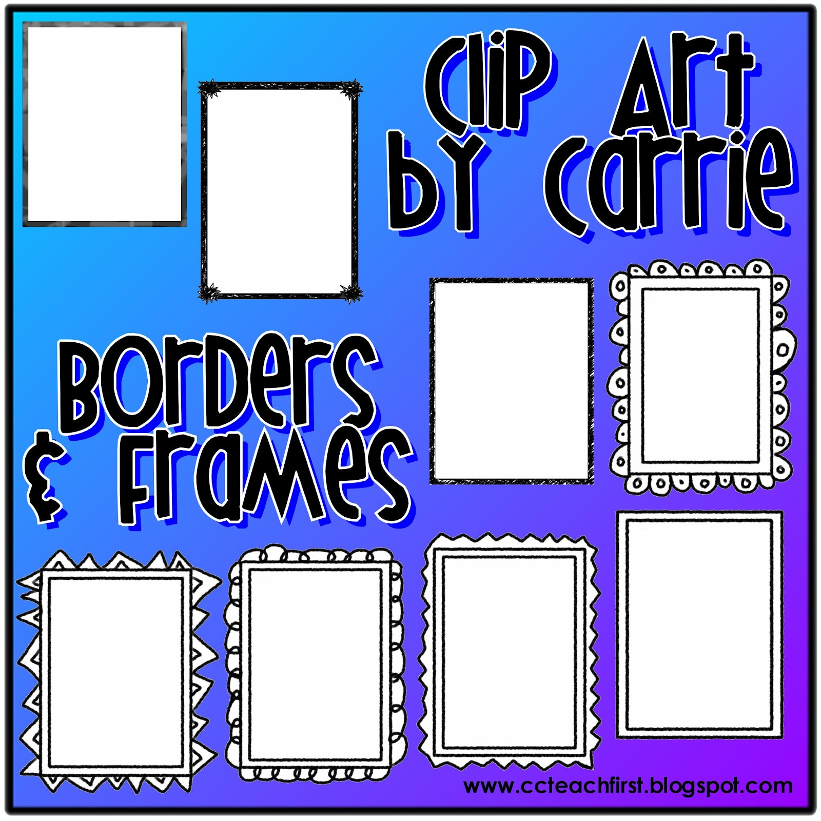Clip Art by Carrie Teaching First: Borders and Frames BW ...