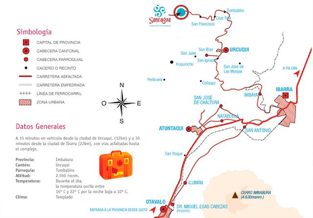 mapa ¿Cómo llegar a las Termas Santagua de Chachimbiro?