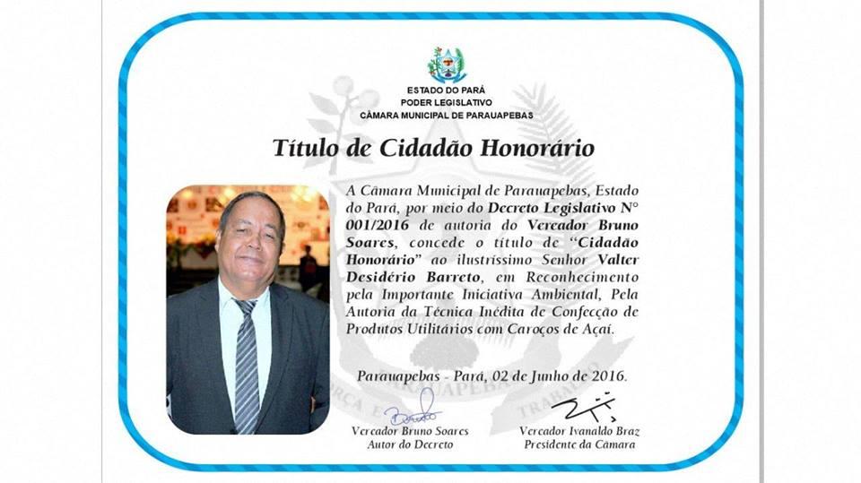 TÍTULO DE CIDADÃO HONORÁRIO