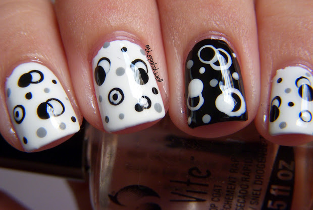 nail ideas black and white molecules
