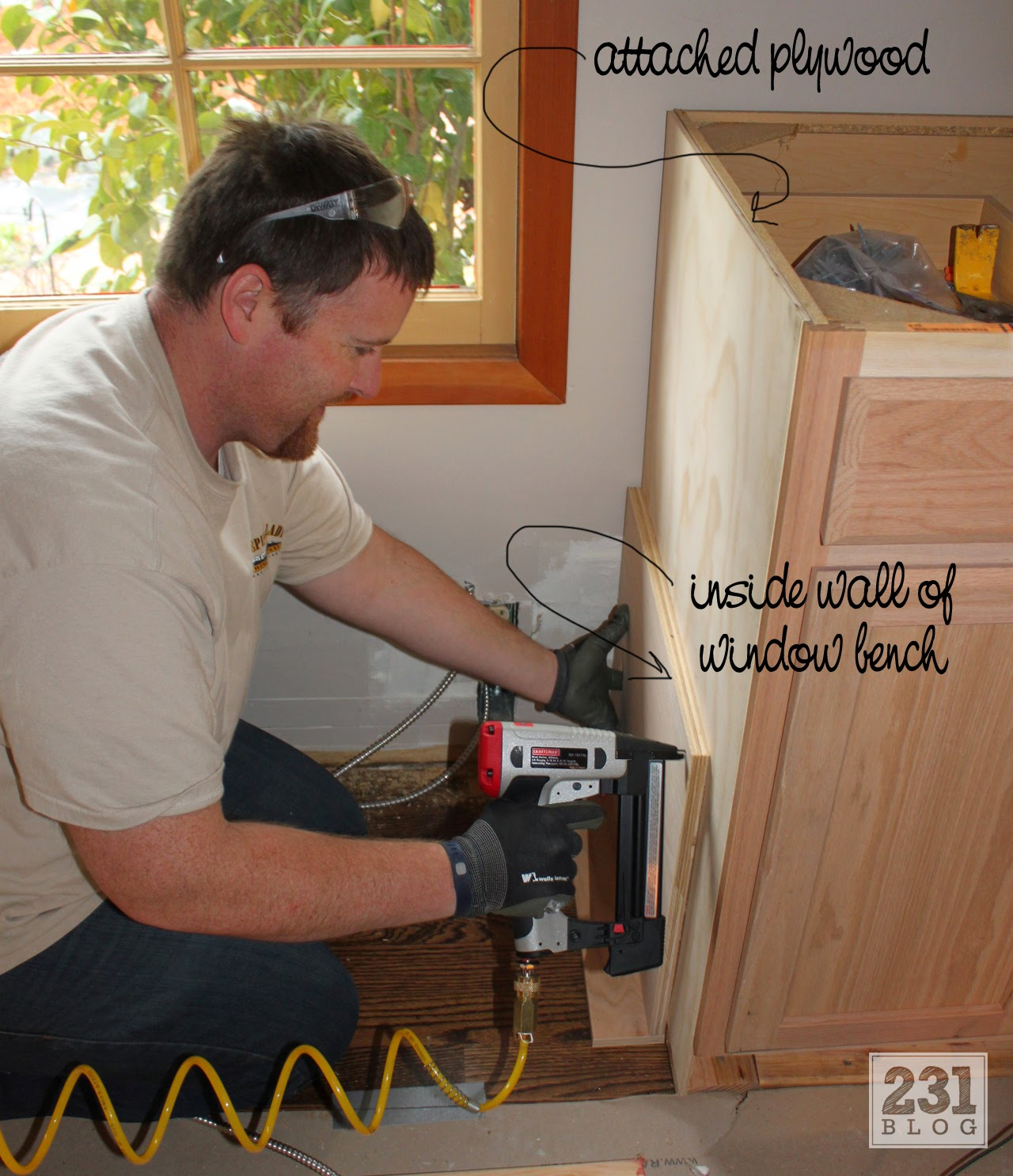 creating built ins with a window bench DIY