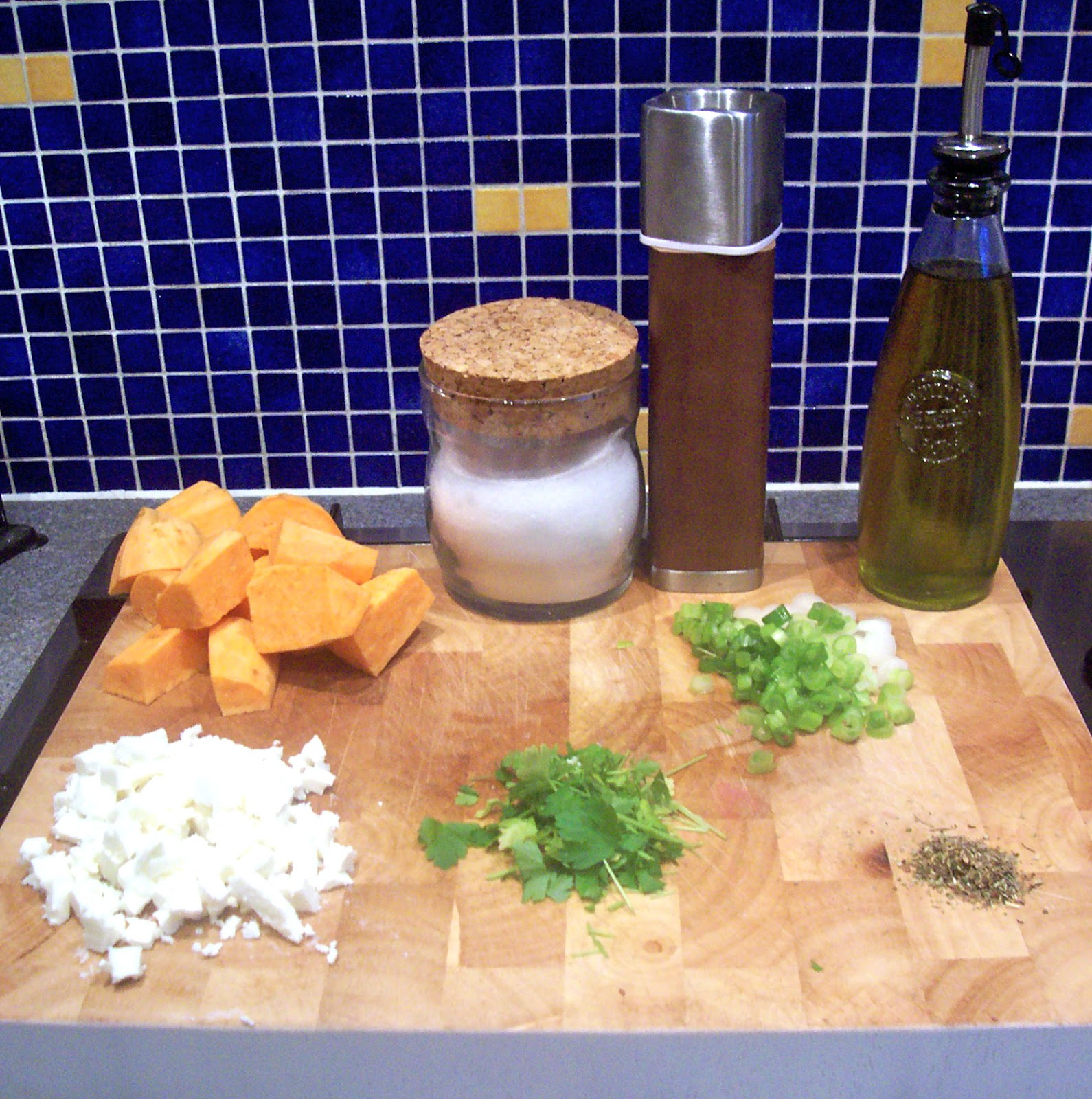 ... Stitchin': Herb-roasted Sweet-Potato Salad with Feta and Spring Onions