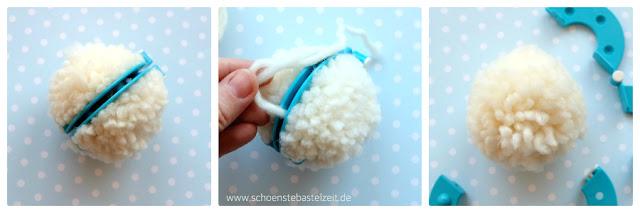 Schneebälle aus Wolle - ein Idee plus Anleitung von (c) www.schoenstebastelzeit.de
