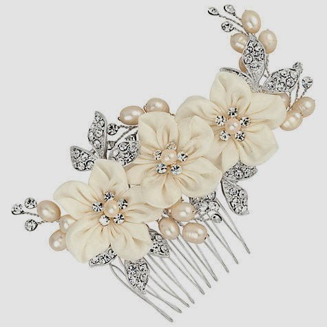 silk flower hair comb