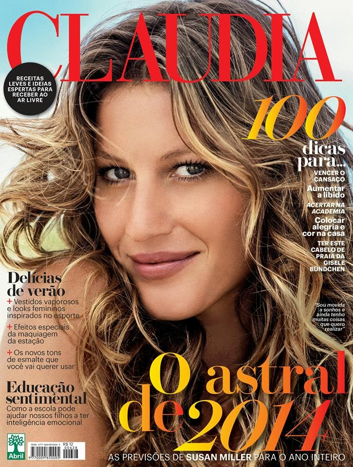 Magazine Cover : Gisele Bundchen Magazine Photoshoot Pics on Claudia Magazine Janeiro 2014 Issue