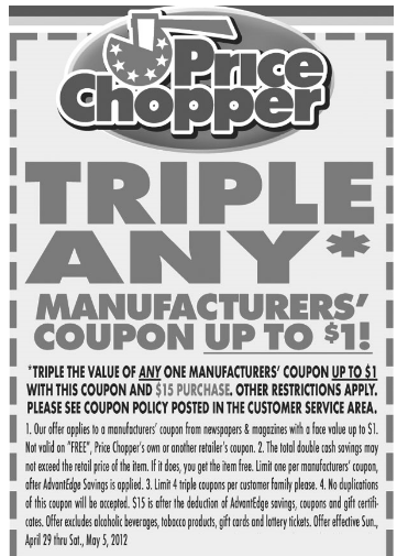 Triple coupons grocery stores
