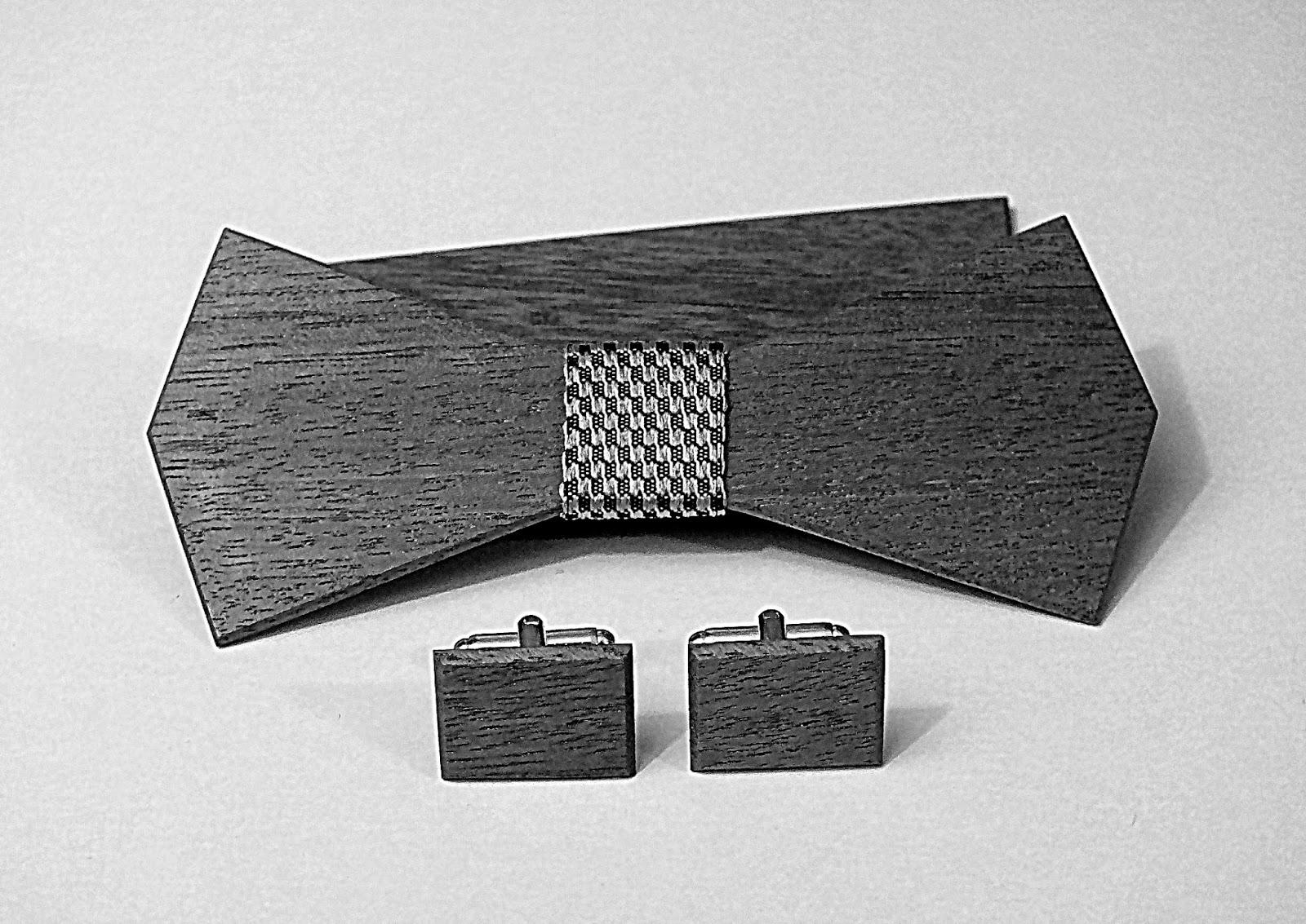 muszka z drewna, drewniana muszka, drewniane spinki do mankietów, drewniana poszetka