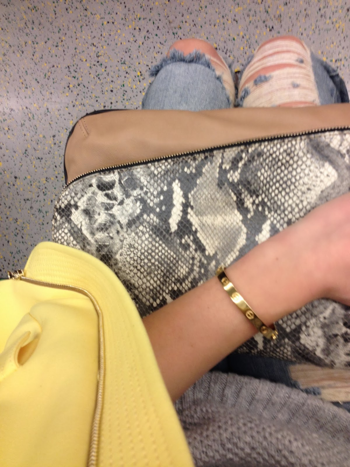 from where i sit, minusey, bracelet minusey, yellow coat, ripped jeans