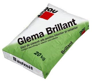Gletul de ciment alb Baumit Glema Brillant se foloseste pentru obtinerea unor suprafete perfect netede, cu finete si grad de alb foarte ridicat