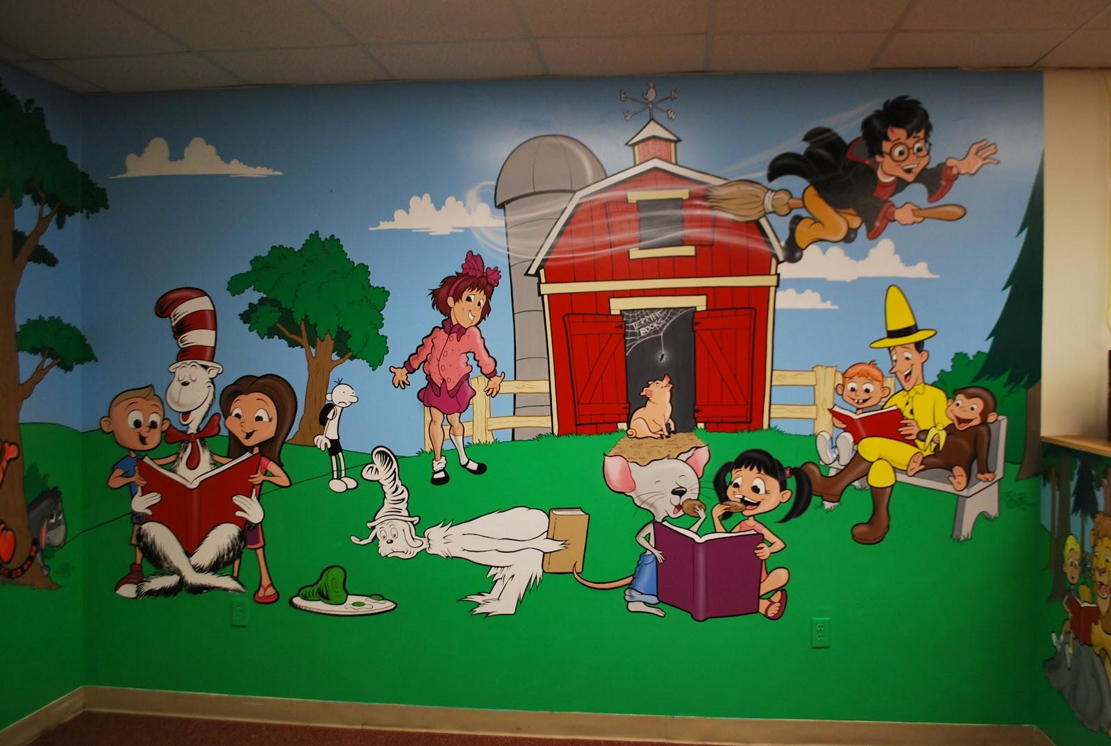 Russ mills illustration school library mural for Elementary school mural