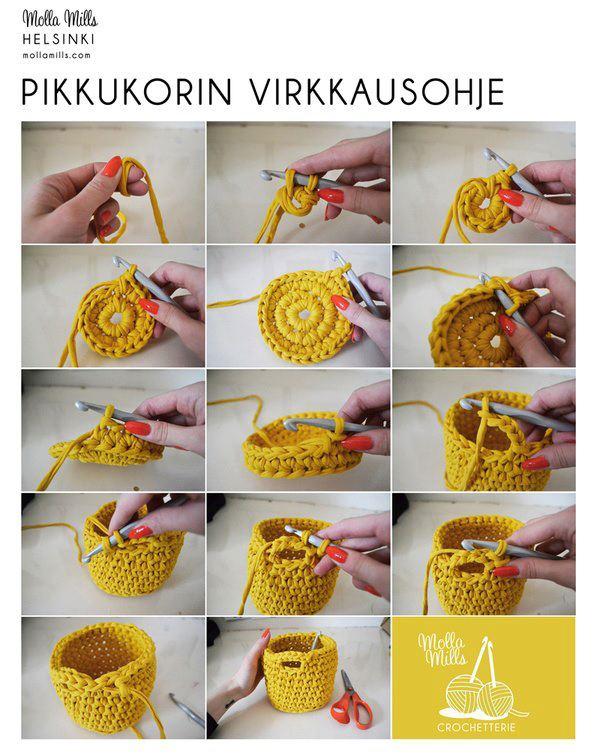 Tejido Facil: Paso a Paso: Canastita rapidísima en crochet :)