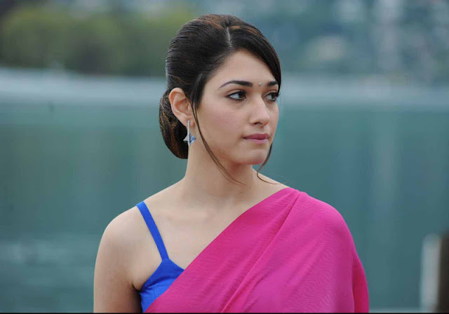 Tamanna Gorgeous Looking In Pink Saree
