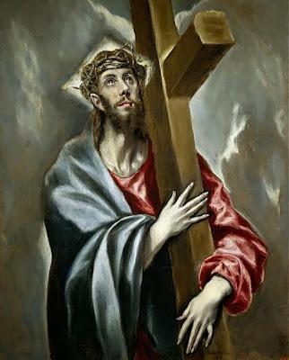 """Descrição: """"Cuando yo tenía mucha hambre y me mataron."""" -  Óleo sobre lienzo, 108 × 78 cm. Madrid, Museo del Prado.  Data: h. 1602. Origem: http://www.museodelprado.es/imagen/alta_resolucion/P00822.jpg - Autor: El Greco (1541–1614)."""