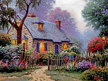 "Thomas Kinkade (1958-2012),  ""Foxglove Cottage."""
