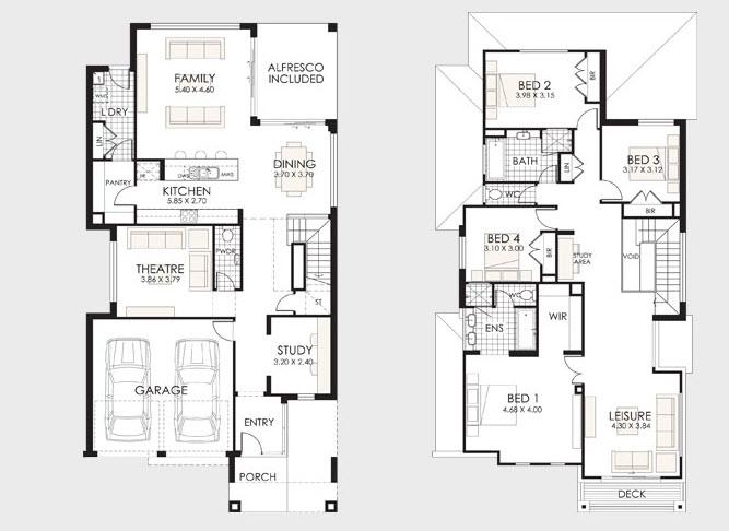Dise o y planos de casas de dos pisos con ideas para for Casa minimalista dwg