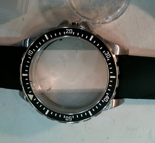 the huge jsar stainless steel case at 46 6 mm diameter  now with no movement