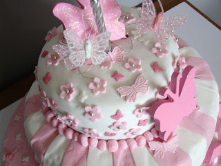 Pink white personalised butterfly cake