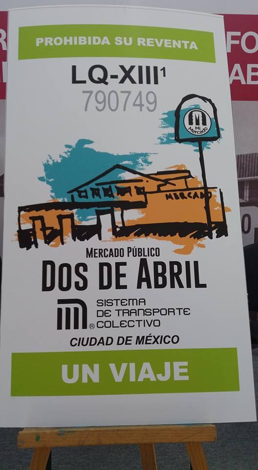 """Boleto del Metro conmemorativo en honor del Mercado """"Dos de Abril"""""""