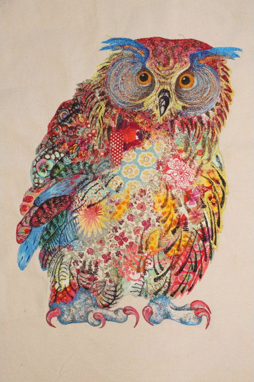 My Owl Barn Sophie Standing Textile Embroidery Art