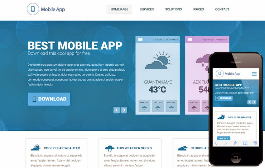 Weather a Mobile App based Flat Bootstrap Responsive Web Template ...