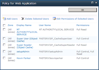 Screen shot of web application policies