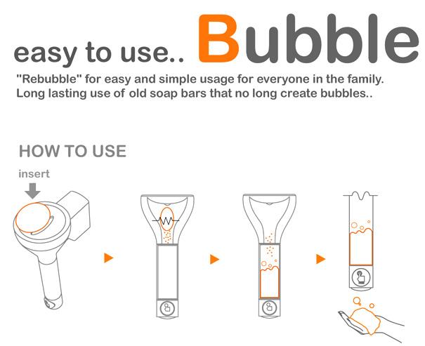 Уникальный дозатор для мыла Re-Bubble для общественных туалетов