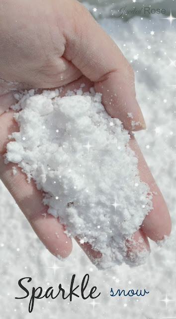 Make your own sparkle snow for glorious Winter play.  This stuff is so fun we could not keep our hands out of it!