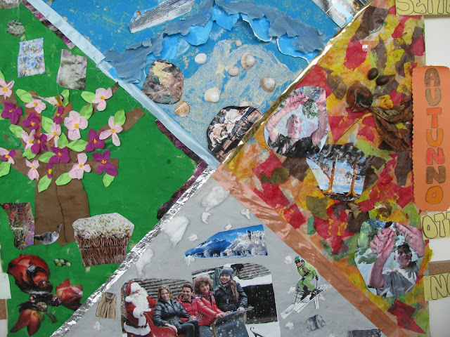 photo of: Reggio Emilia Art project: collage of four seasons