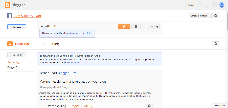 Cara Membuat Blog Sendiri dengan Blogger
