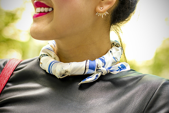 Ann Taylor nautical silk scarf with BaubleBar Cairo Ear Jackets