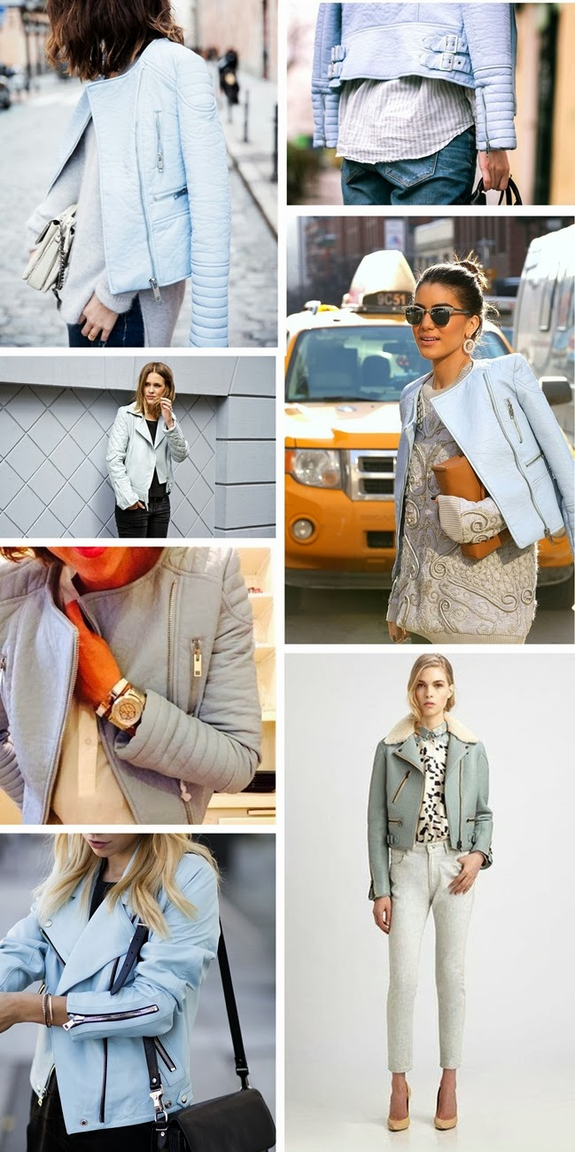 trend report, baby blue leather jacket, pastel blue zara leather jacket, inspirational board, fashion inspiration, fashion blogger, style blogger, college vintage zara leather jacket