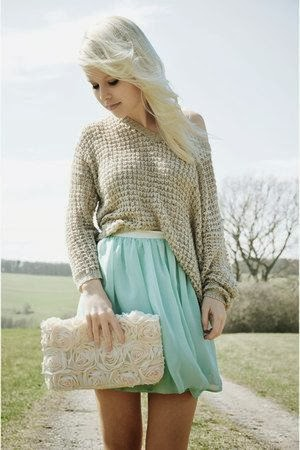 Ecru Color Long Sleeve Sweater With Light Sky Blue Skirt And Floral Clutch