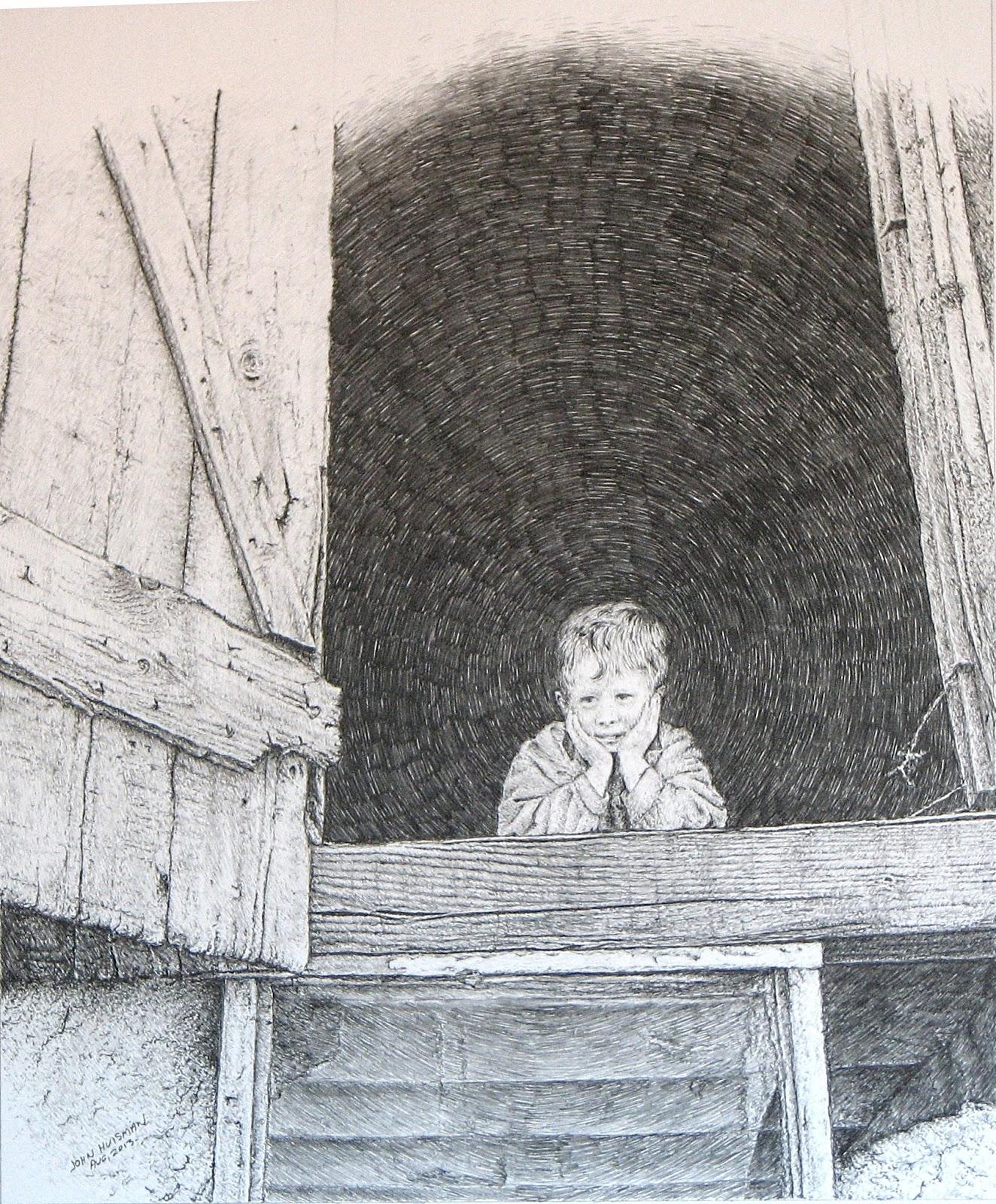 An Old Barn Pencil On Ristol Board By John Huisman