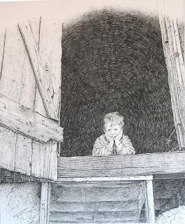"""An Old Barn"", pencil on ristol Board by John Huisman"