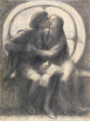 Dessin de Rossetti de deux amoureux s'embrassant