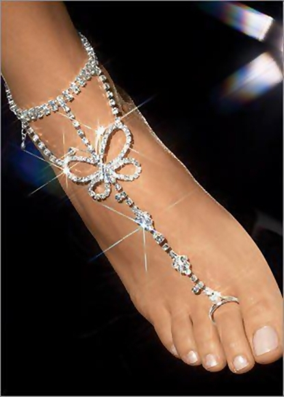Barefoot wedding silver butterfly style sandals for ladies