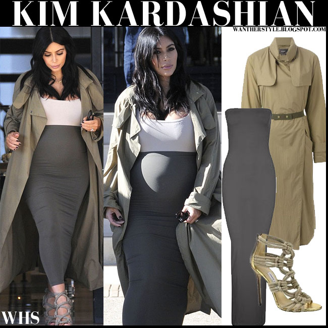 Kim Kardashian in khaki trench coat with grey maxi skirt pregnant baby bump what she wore