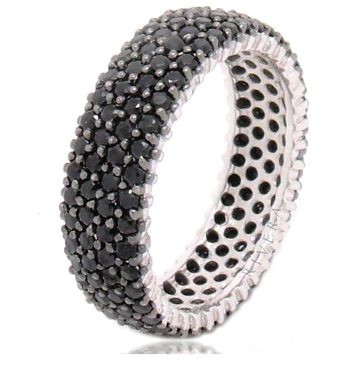 anel zirconia negra preta
