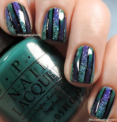 Glittery reciprocal gradient nail art
