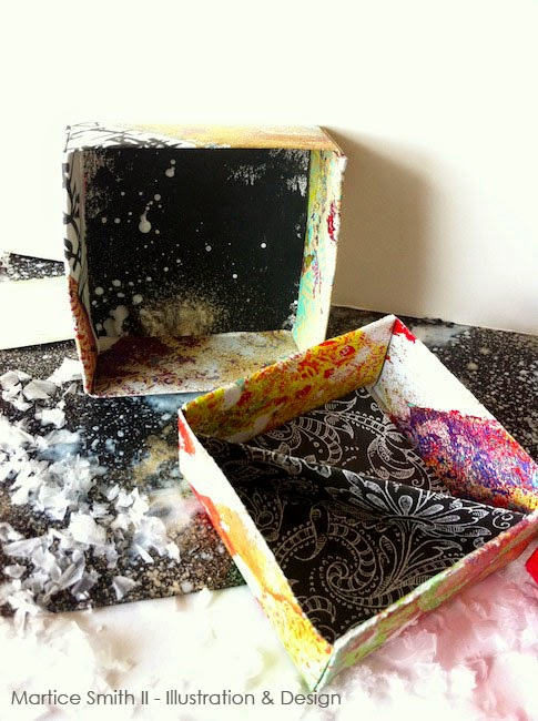 Origami Gift Boxes by Martice Smith II; graffiti and gelli prints