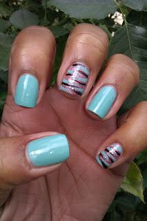 For Audrey, Tiffany, blue, zebra print, tiger print, accent nail, nail art, mani