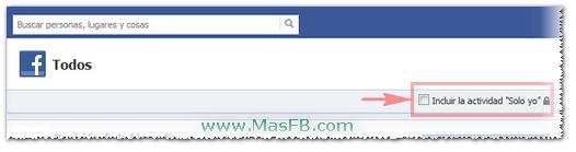 Incluir la actividad Solo yo en Registro de Actividad Facebook MasFB