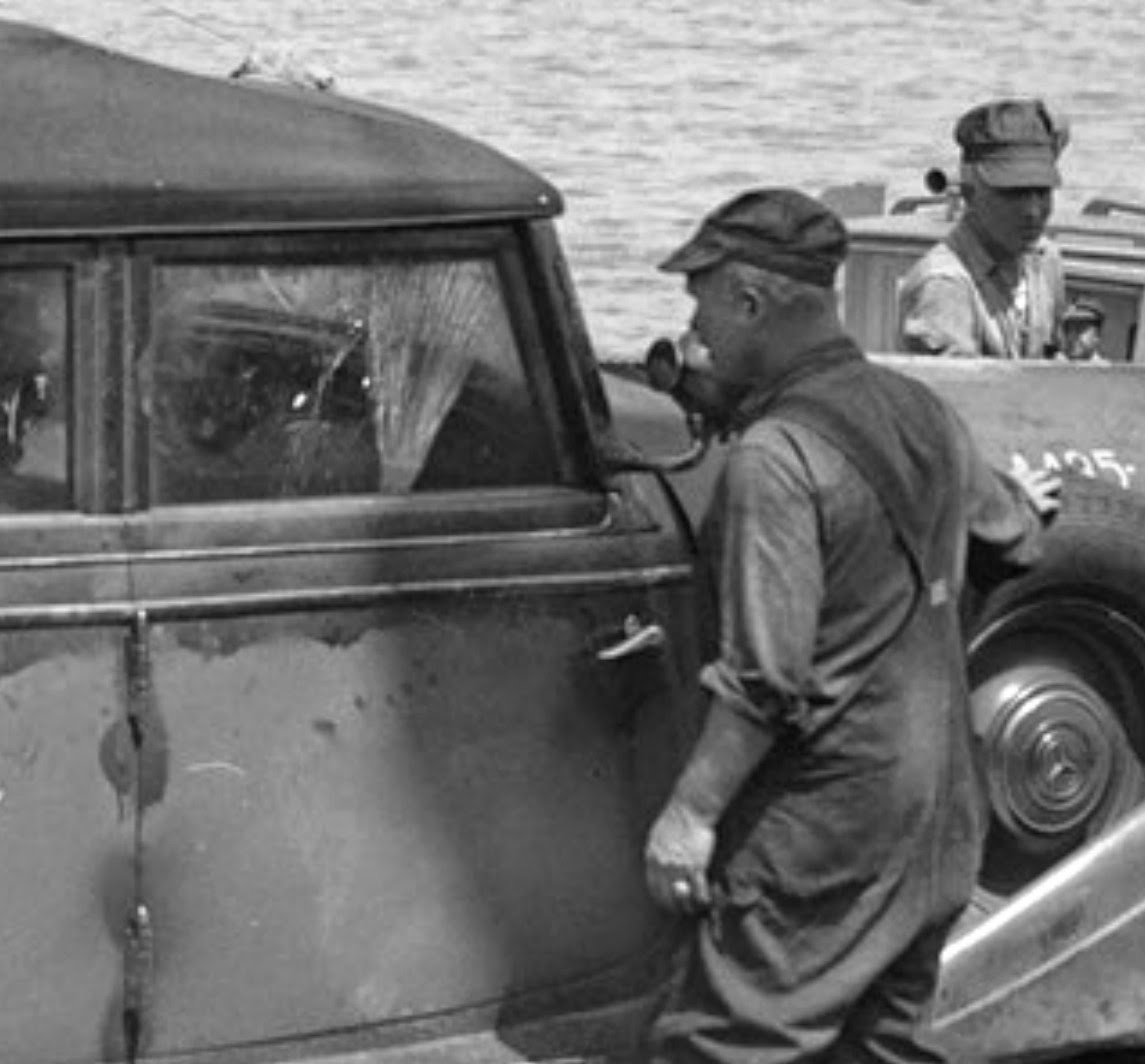 Closeup - shattered glass on Hitler's Mercedes limousine - Boston Harbour 1945